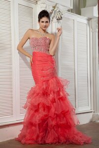 Unique Coral Red Mermaid Organza Beaded Miss Universe Pageant Dresses