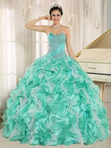 Cheap Apple Green Beauty Pageant Dress with Beaded Bodice and Ruffles