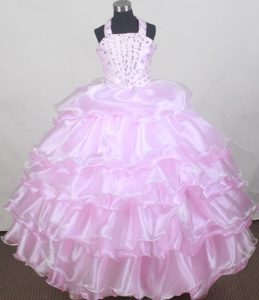 Brand New Halter Baby Pink Flower Girl Pageant Dresses Beaded with Ruffled Layers