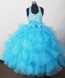 Perfect Blue Little Girl Pageant Dresses Beaded with Bowknot and Ruffled Layers