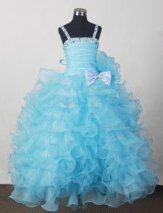 Affordable Little Girl Pageant Dresses in 2013 with Beading Bow and Ruffled Layers