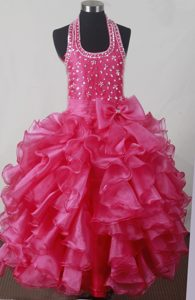 Beaded Luxurious Halter Top Little Girl Pageant Dresses with Bowknot and Ruffles