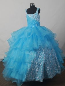 Luxurious Scoop Little Girl Pageant Dress for Miss World with Ruffles on Promotion