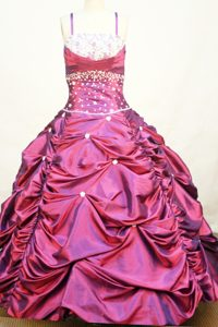 Beautiful Spaghetti Straps Girl Pageant Dress with Lace and Beading on Promotion