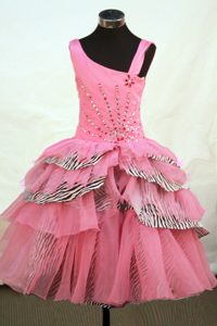 Latest Asymmetrical Neckline Rose Pink Organza Beaded Pageant Girl Dress