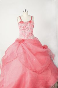 Brand New Beading Organza Coral Red Pageant Dress for Girl with Flowers