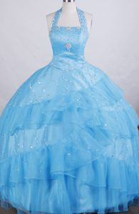 New Style A-line Halter Top Glitz Little Girl Pageant Dresses to Floor-length