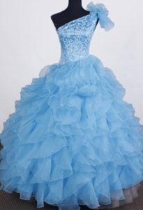 One Shoulder Organza Beading Little Girl Prom Pageant Dresses in Aqua Blue