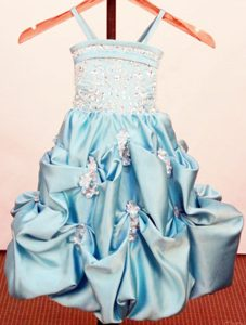 Popular Beading Appliques Spaghetti Straps Pageant Girl Dress in Baby Blue