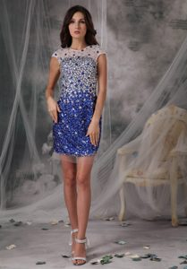Beautiful Peacock Blue Scoop Prom Pageant Dresses in Tulle with Beading