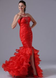 Red Mermaid Ruffles Layered Ruched and Beaded Youth Pageant Dresses