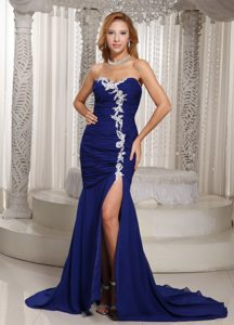 Mermaid Royal Blue Dresses for Pageants in NJ with Ruche and Appliques