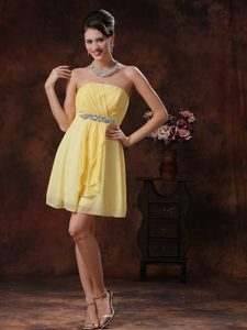 Customize Yellow Pageant Dress for Miss World with Beading and Ruche