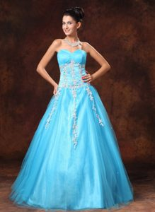 A-line Glitz Pageant Dresses with Appliques and Sweetheart in Baby Blue