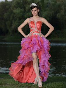 Voguish High-low Multi-color Natural Beauty Pageants Dress with Ruffles