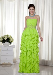 Yellow Green Strapless Chiffon Up-to-date Pageant Dresses with Beading