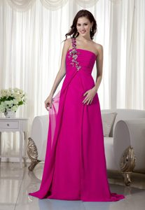 Empire One Shoulder Brush Train Chiffon Girl Pageant Dresses in Hot Pink