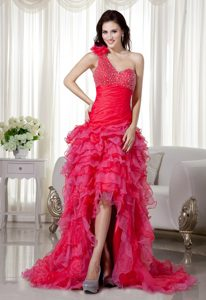 A-line One Shoulder Organza Trendy Miss Universe Pageant Dress in Red