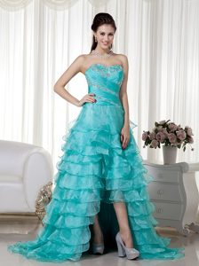 Turquoise Sweetheart Brush Train Organza Pageant Dress for Miss World