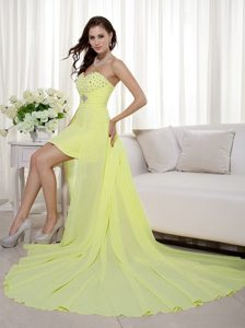 Light Yellow Turn Head High-low Beaded Pageant Dress for Miss America
