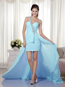 Luxury and Grace Baby Blue One Shoulder Pageant Dresses for Miss USA