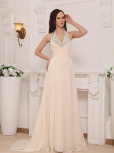 Extravagant Empire Interview Pageant Suits with Halter Top in Champagne