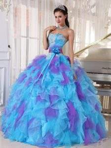 Attractive Baby Blue and Purple Strapless Pageant Dresses with Appliques
