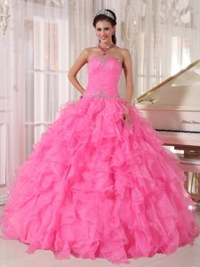 Exquisite Hot Pink Strapless Girl Pageant Dresses in Organza with Beading