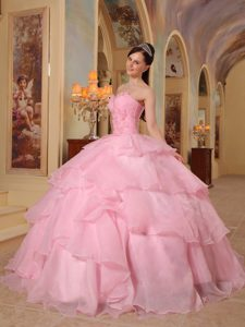 Surprising Pink Sweetheart Organza Beading Miss Universe Pageant Dress