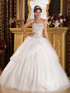 Wonderful Sweetheart White Prom Pageant Dress in Organza with Sequins