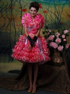 Mini-length Glitz Pageant Dress in Sequins and Organza Fabric in Hot Pink Mermaid