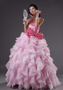Strapless Floor-length Baby Pink Ruffled Pageant Dress with Appliques and Bow