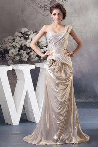One Shoulder Brush Train Champagne Ruched Pageant Dress with Rolling Flower