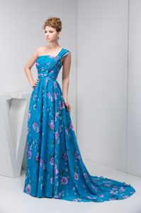 2014 One Shoulder Brush Train Special Printed Prom Pageant Dress with Ruching