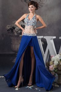 V-neck Halter Royal Blue Chiffon and Tulle Pageant Dress with Beading and Slit