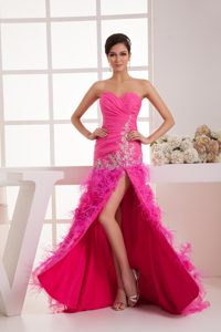 Ruched Sweetheart Brush Train Hot Pink Pageant Dresses with Appliques and Slit