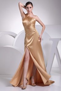 Latest One Shoulder Brush Train Champagne Ruched Pageant Dress with High Slit