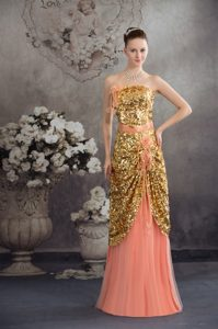 Strapless Floor-length Gold Sequin and Peach Tulle Pageant Dress with Flowers