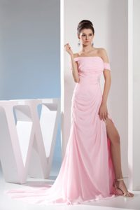 Hot Pink off-the-shoulder Brush Train Ruched Beaded Pageant Dresses with Slit