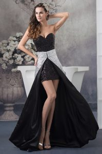 Sweetheart Mini-length Black Sequin Pageant Dress with Silver Detachable Train