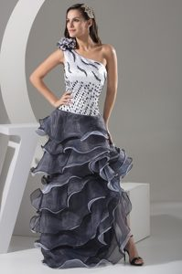 One Shoulder Floor-length Beaded Prom Pageant Dress with Ruffles and Flower