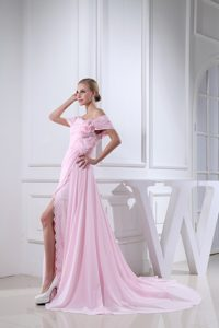 Chic Baby Pink off-the-shoulder Brush Train Ruched Pageant Dress with Flowers