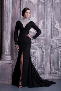 High-neck Long Sleeves Brush Train Black Pageant Dresses with Beading and Slit