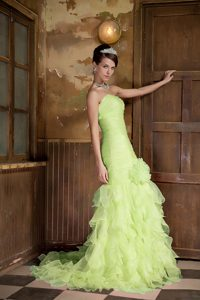 Chic Yellow Green Sweetheart Brush Train Pageant Dress with Flower and Ruffles