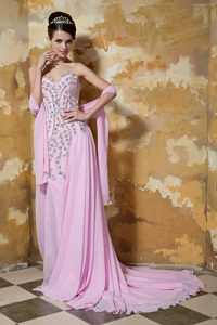 Rose Pink Sweetheart Brush Train Chiffon Pageant Dress with Beading and Shawl