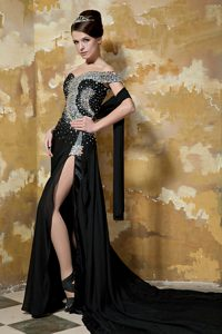 Black Column One Shoulder Affordable Pageant Girl Dresses with Beading
