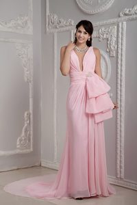 Baby Pink V-neck Chiffon Discount Girl Pageant Dresses with Court Train