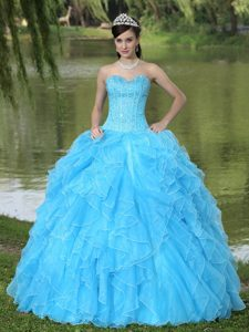 Sweetheart Aqua Blue Low Price Pageant Dress for Girls with Ruffled Layers