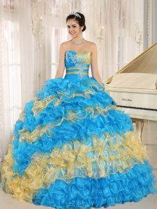 Discount Muti-Color Organza Glitz Pageant Dress with Appliques and Ruffles