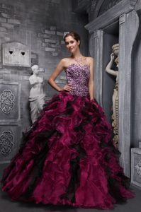 Burgundy Ball Gown Sweetheart Ruffled Beauty Pageant Dress on Promotion